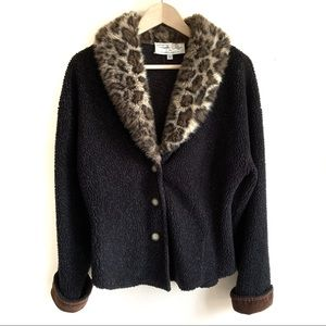 Vintage Tasha Polizzi Fleece Jacket Faux Fur Trim